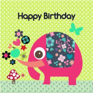 Happy Birthday Card - Pink Elephant